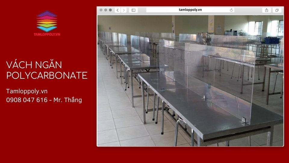 Ưu điểm Vách ngăn polycarbonate thay thế kính